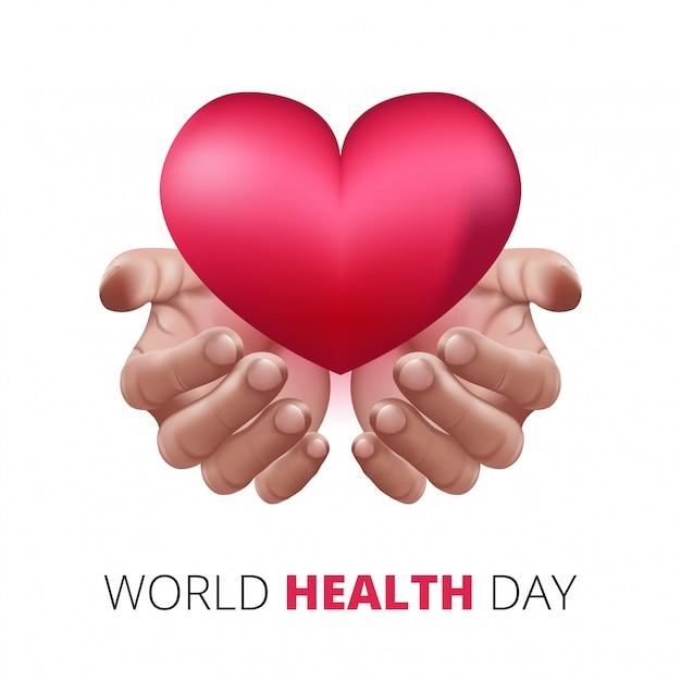 Felice giornata mondiale della salute, mani umane che tengono il cuore di amore. stile 3d realistico. concetto di assistenza sanitaria e medica. Vettore Premium