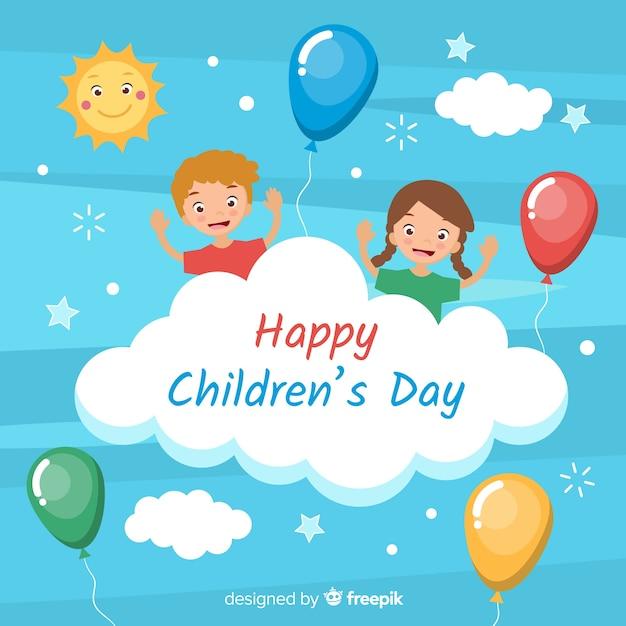 Felice giorno dei bambini sfondo in design piatto Vettore gratuito