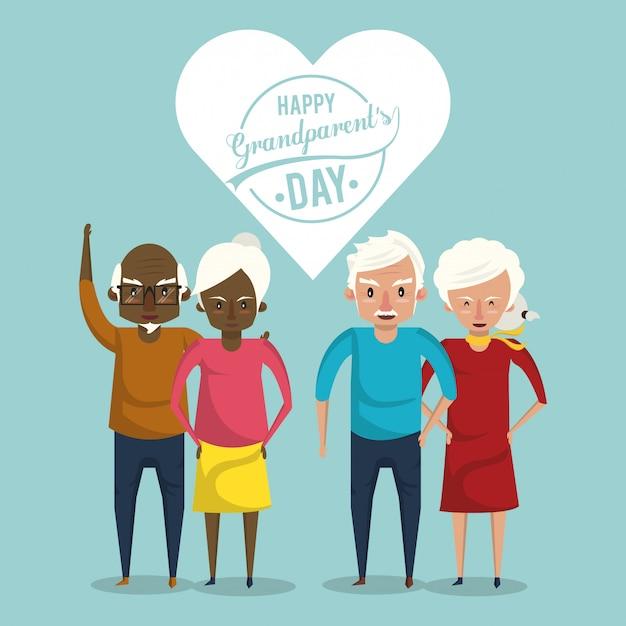 Felice giorno dei nonni carta con cartoni animati Vettore Premium