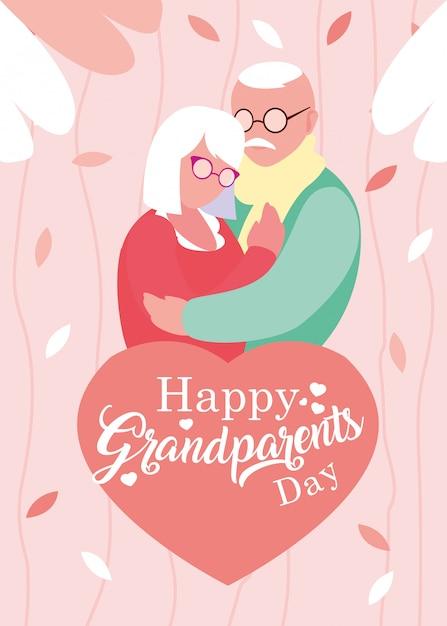 Felice giorno dei nonni poster con coppia di anziani abbracciati Vettore Premium