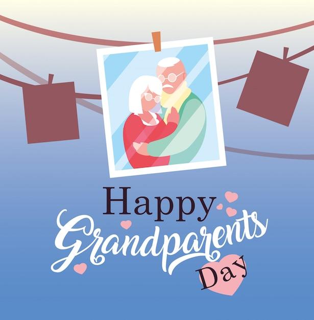 Felice giorno dei nonni poster con foto vecchia coppia appesa Vettore Premium