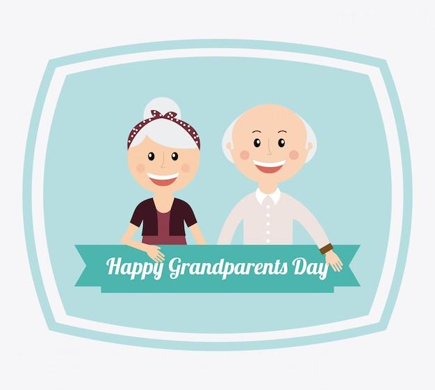 Felice giorno dei nonni Vettore Premium