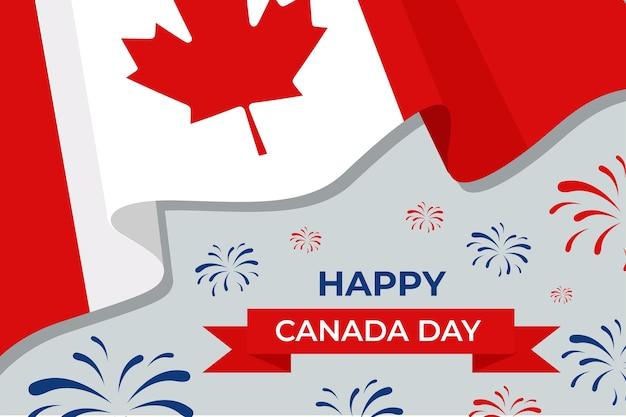 Felice giorno del canada con bandiera e fuochi d'artificio Vettore gratuito