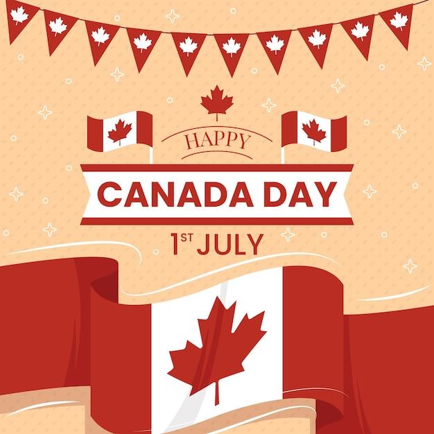 Felice giorno del canada con bandiera e ghirlanda Vettore gratuito