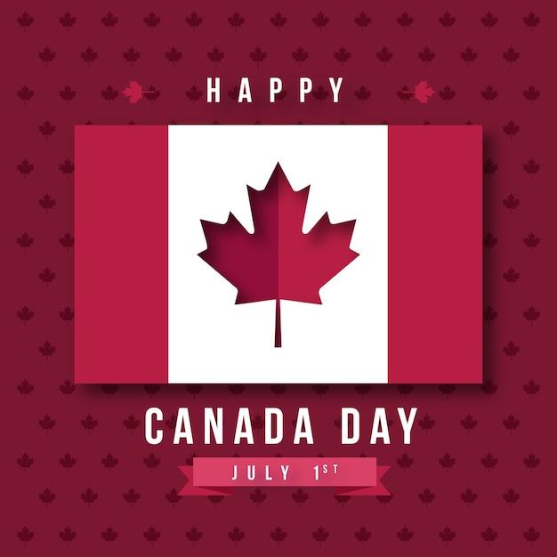 Felice giorno del canada con bandiera Vettore gratuito