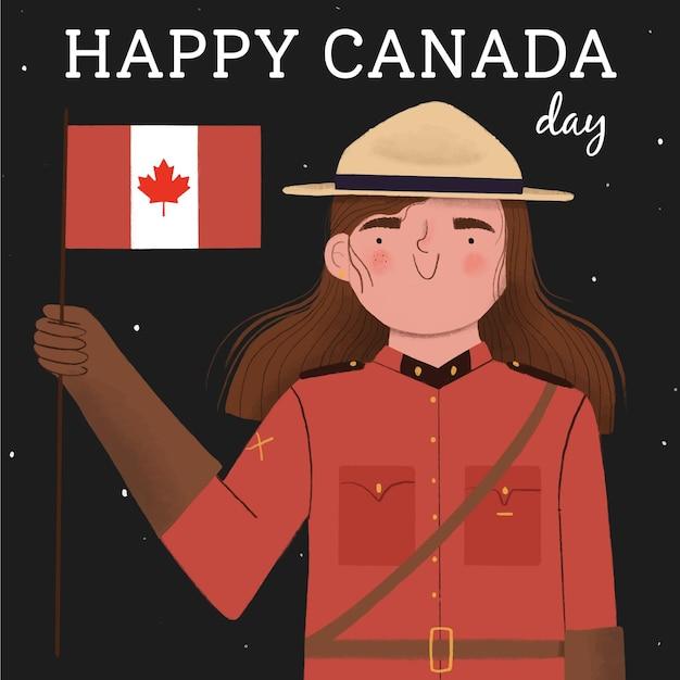 Felice giorno del canada con donna e bandiera Vettore gratuito