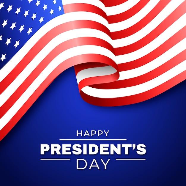 Felice giorno del presidente della bandiera degli stati uniti Vettore gratuito