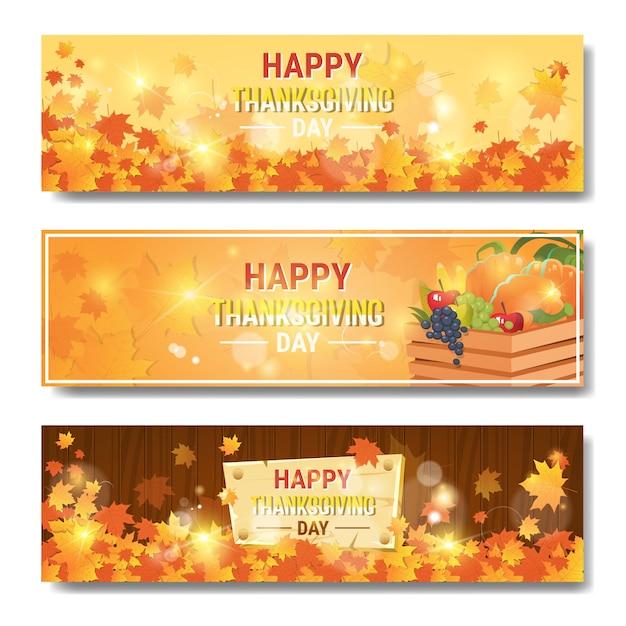 Felice giorno del ringraziamento autunno tradizionale orizzontale set di bandiere Vettore Premium