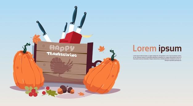 Felice giorno del ringraziamento banner. autumn traditional harvest concept Vettore Premium