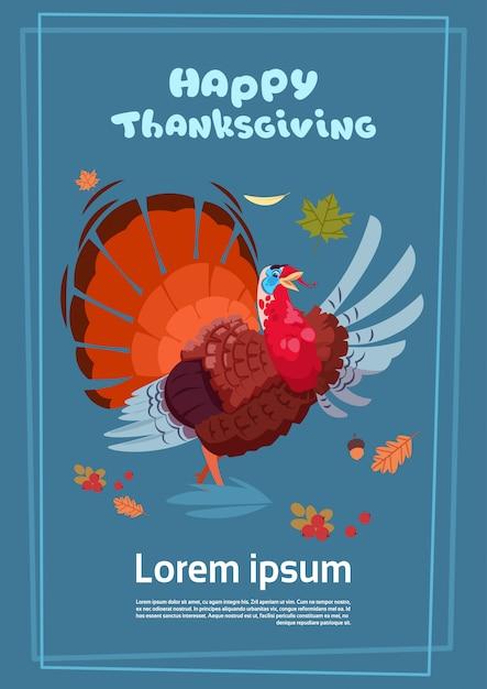 Felice giorno del ringraziamento poster. autumn traditional harvest greeting card con la turchia Vettore Premium