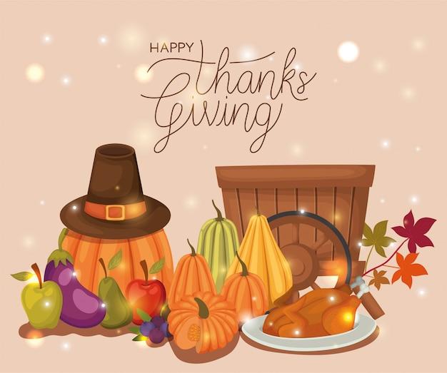 Felice giorno del ringraziamento, saluto festivo stagione autunnale e illustrazione tradizionale Vettore Premium