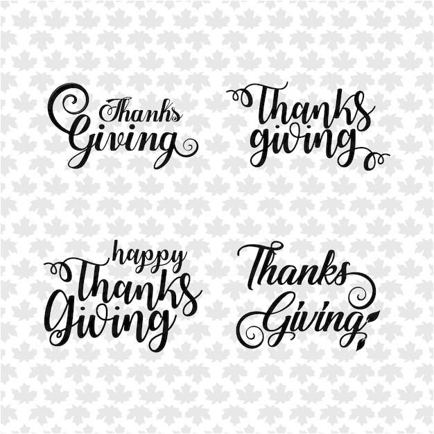 Felice Giorno Del Ringraziamento Testo A Mano Lettering Collezione