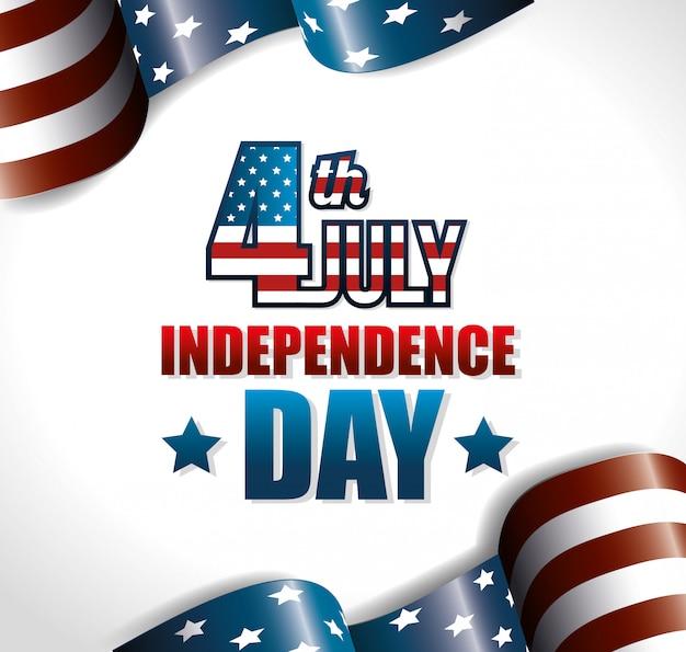 Felice giorno dell'indipendenza, 4 luglio celebrazione negli stati uniti d'america Vettore gratuito