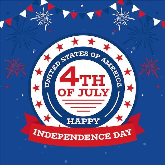 Felice giorno dell'indipendenza con fuochi d'artificio e ghirlanda Vettore gratuito