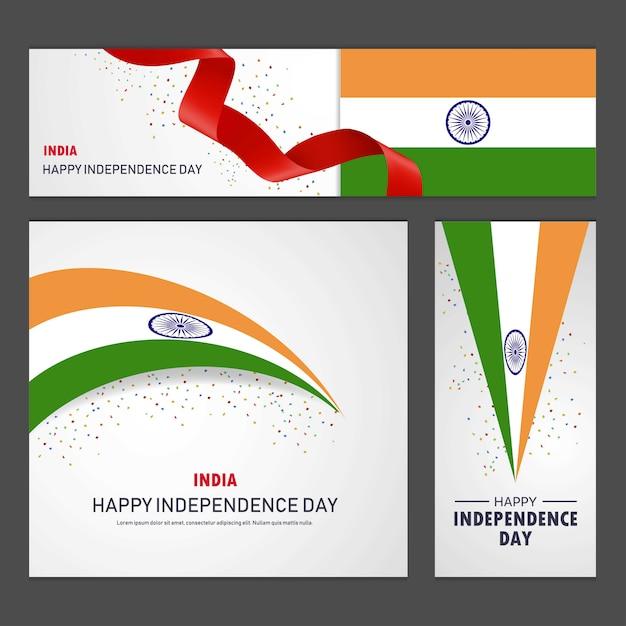 Felice giorno dell'indipendenza dell'india banner e set di sfondo Vettore Premium