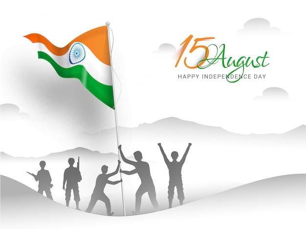Felice giorno dell'indipendenza indiana. soldato dell'esercito indiano che fa la bandiera che solleva sopra la montagna Vettore Premium