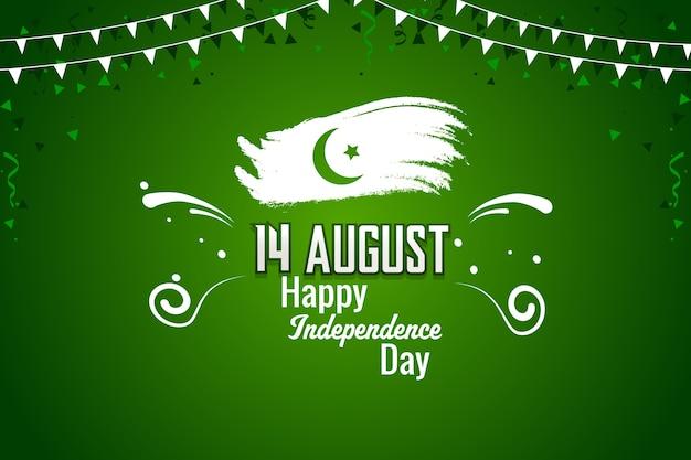 Felice giorno dell'indipendenza pakistana del 14 agosto Vettore Premium