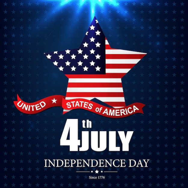 Felice giorno dell'indipendenza usa 4 luglio poster Vettore Premium