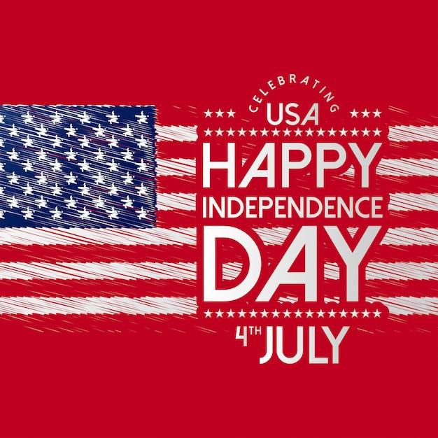 Felice giorno dell'indipendenza usa con bandiera Vettore gratuito
