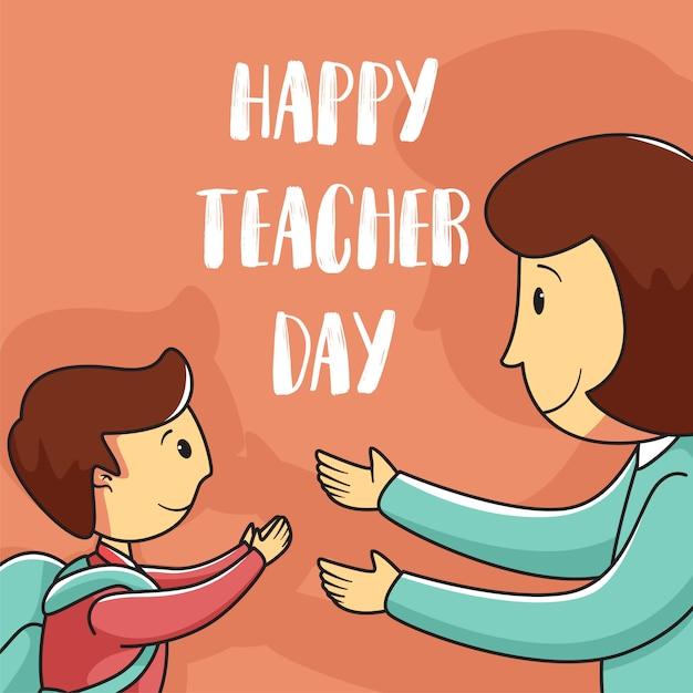 Felice giorno dell'insegnante sfondo Vettore Premium