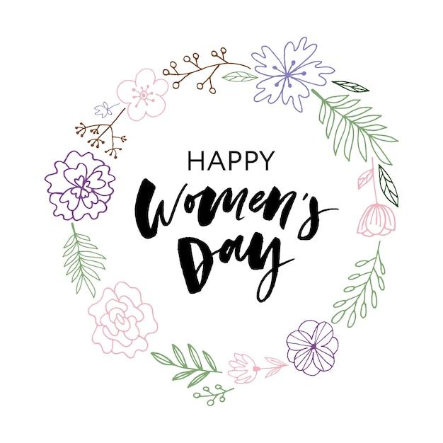 Felice giorno della donna cartolina. Vettore Premium