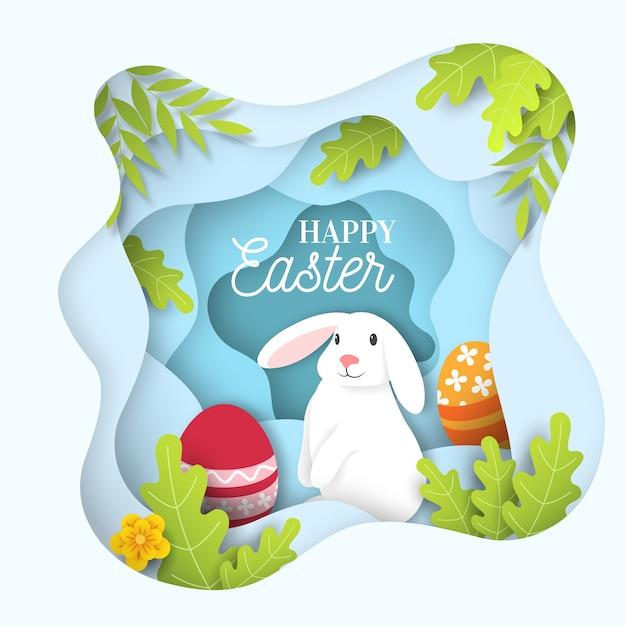 Felice giorno di pasqua stile carta con coniglio bianco carino Vettore gratuito