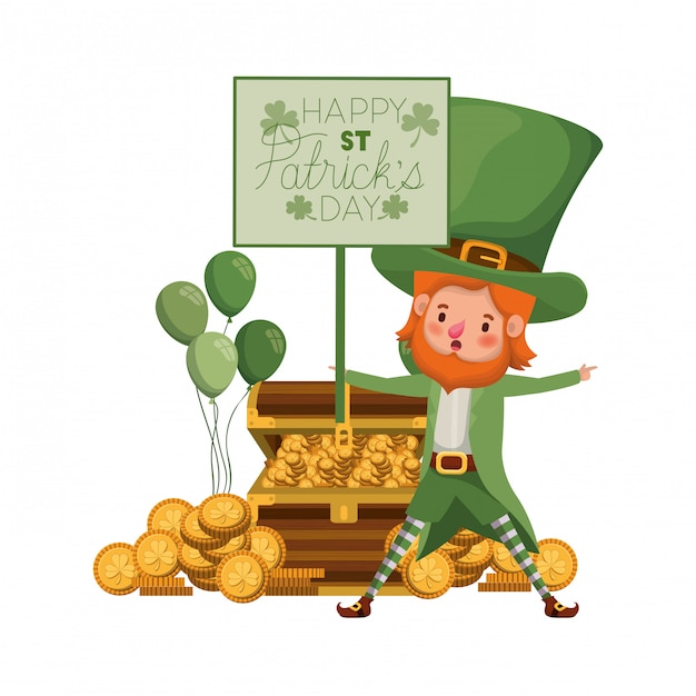 Felice giorno di san patrizio etichetta con personaggio leprechaun Vettore Premium