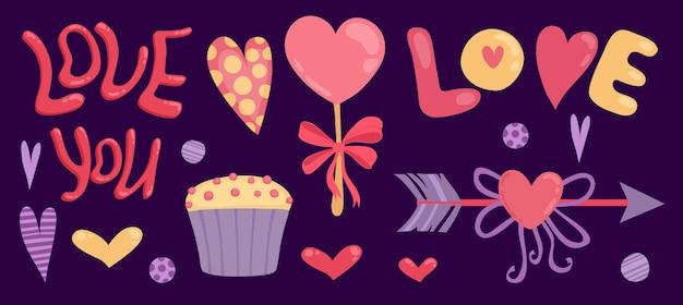 Felice giorno di san valentino banner con amore ti scritte, freccia e cupcake Vettore Premium