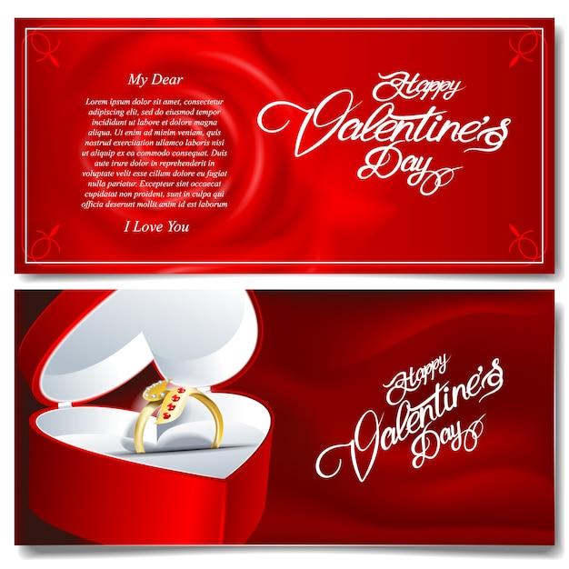 Felice giorno di san valentino banner Vettore Premium