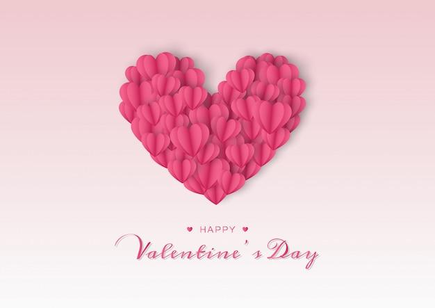 Felice giorno di san valentino carta con cuore di carta Vettore Premium