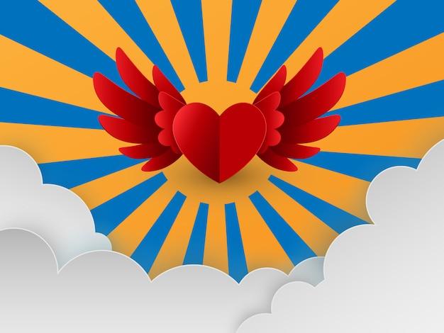 Felice giorno di san valentino carta con cuori rossi che volano in cielo Vettore Premium