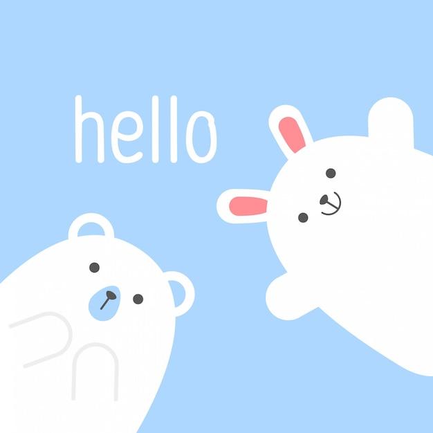 Felice giorno di san valentino coniglio e teddy bear vettoriale Vettore Premium