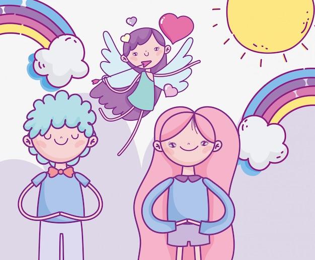 Felice giorno di san valentino, coppia carina e cupido volante con arcobaleno cuori freccia amore Vettore Premium