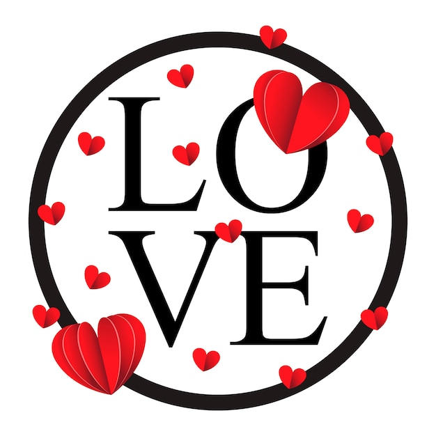 Felice giorno di san valentino e diserbo elementi di design Vettore Premium