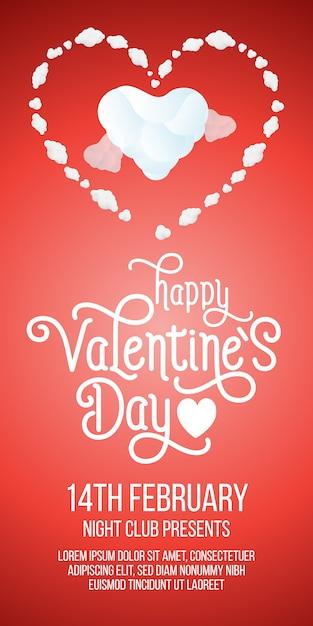 Felice giorno di san valentino lettering con cuori e testo di esempio Vettore gratuito