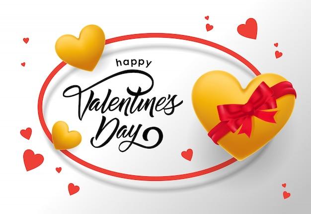 Felice giorno di san valentino lettering in cornice ovale con cuori Vettore gratuito