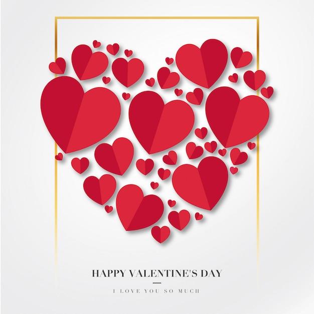 Felice giorno di san valentino sfondo con cuori Vettore gratuito