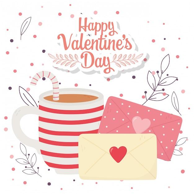 Felice giorno di san valentino, tazza di buste di cioccolato lettera fogliame e sfondo di punti Vettore Premium
