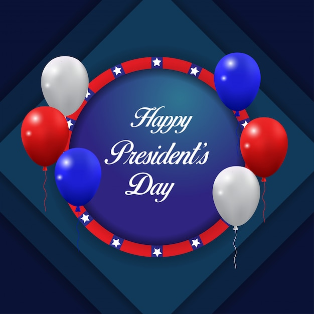 Felice giorno presidenti sfondo con palloncini volanti vettoriale. Vettore Premium