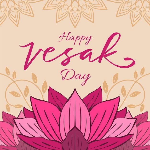 Felice giorno vesak con fiore di loto Vettore gratuito