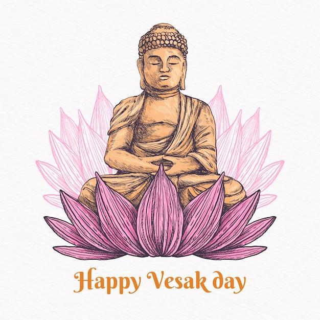 Felice giorno vesak con loto e buddha Vettore gratuito