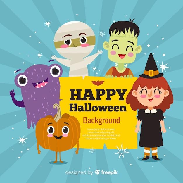 Felice halloween background con simpatici personaggi dei cartoni animati Vettore gratuito