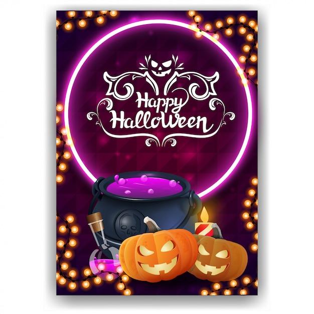 Felice halloween, biglietto di auguri verticale con design luminoso, calderone della strega e zucca jack Vettore Premium