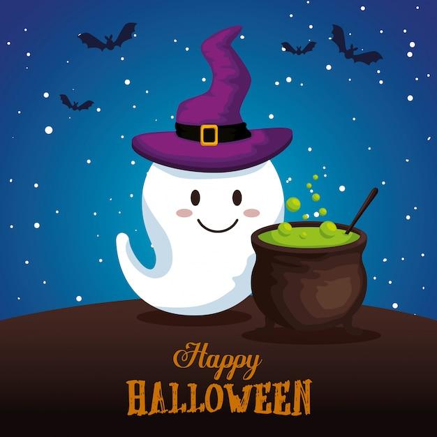 Felice halloween con gosth Vettore gratuito