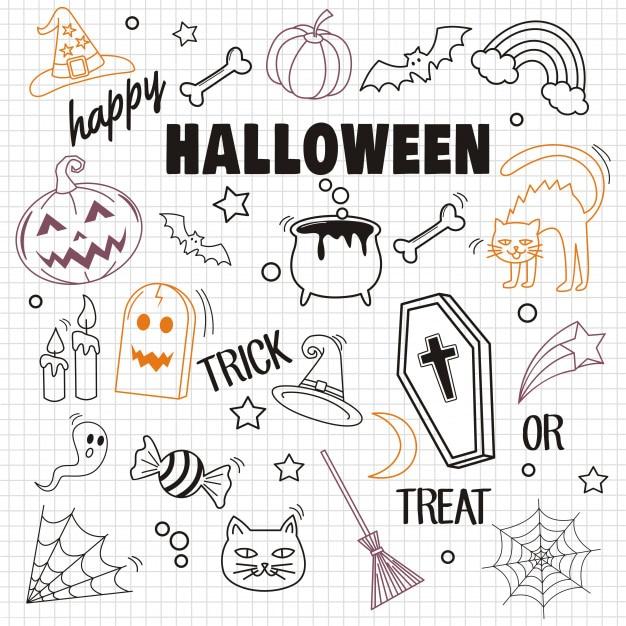 Felice halloween ed elemento su fondo di carta Vettore Premium