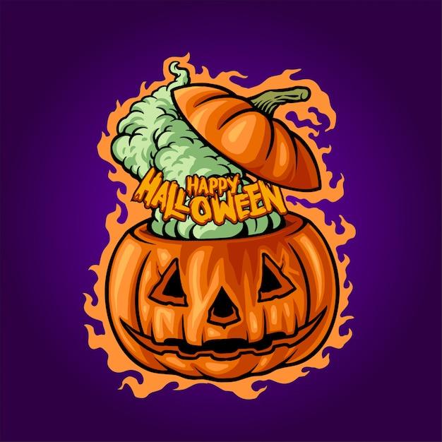 Felice halloween illustrazione di jack o'lantern Vettore Premium