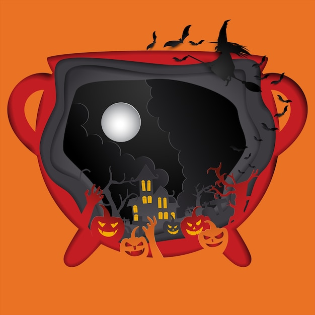 Felice halloween poster carta arte Vettore Premium