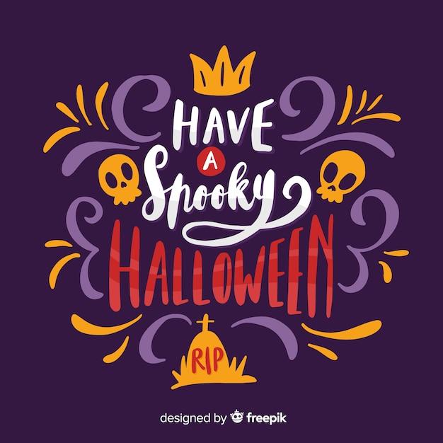 Felice halloween spettrale con teschi Vettore gratuito
