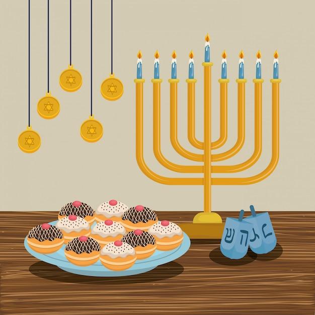 Felice hanukkah card con lampadario Vettore Premium