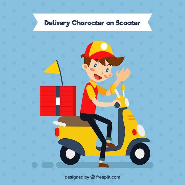 Felice l'uomo di consegna pizza su scooter Vettore gratuito